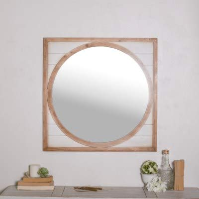 VIPSSCI Round Wall Wall Mounted Mirror with White Shiplap Style Square Frame Wall Mounted Wood Framed Decorative Mirror