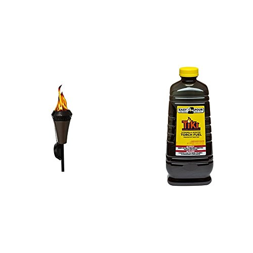 TIKI Brand 66-inch Island King Large Flame Torch Gunmetal Finish & 64 oz. Citronella Scented Torch Fuel with Easy Pour System