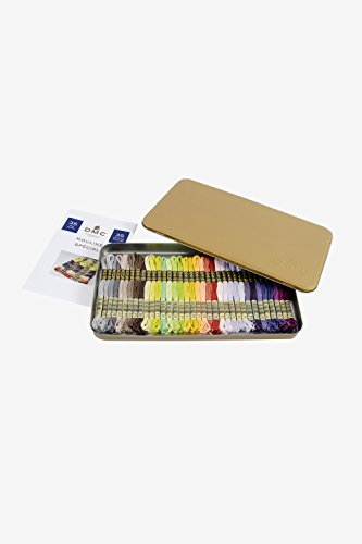 DMC Mouline Special 35 New Color Gift Tin with Cross Stitch Chart (Thread Color Chart)