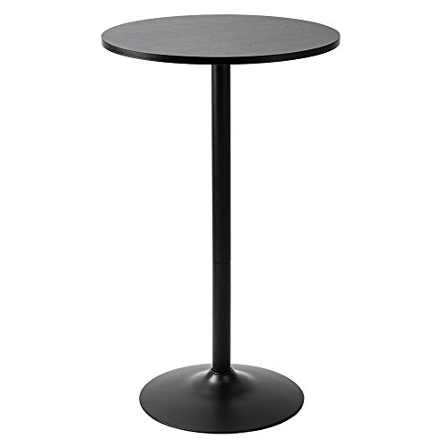 Pearington PEAR-0098 Long and Small, Single Round Cocktail Bar, Pub, and Bistro High Table with Black Top and Base, 1 Pack, ()