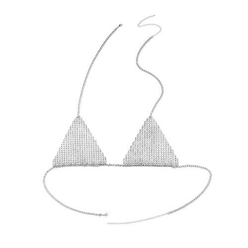 Jili Online Full Sequin Crystal Bra Triangle Club Rhinestone Body Necklace Chain Bikini Choker Beach Jewelry - silver