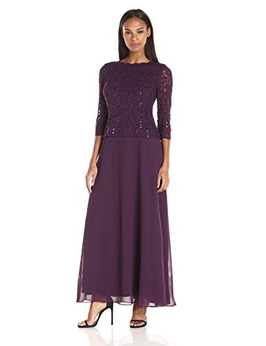 Alex Evenings Women's Long Mock Dress with Sequin Lace Bodice and Illusion 3/4 Sleeves, Deep Plum, ()