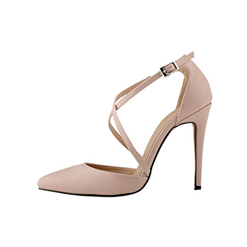 fereshte Womens High-heeled Ankle Strap Stiletto Pump Shoes Nude