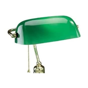 upgradelights replacement glass bankers lamp shade green. Black Bedroom Furniture Sets. Home Design Ideas