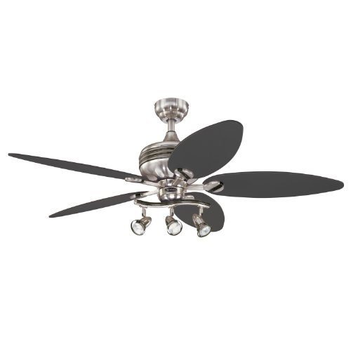 Gunmetal Finish Accents - Westinghouse 7234265 Xavier II 52 Inch Ceiling Fan, Brushed Nickel w Gunmetal Accents Finish