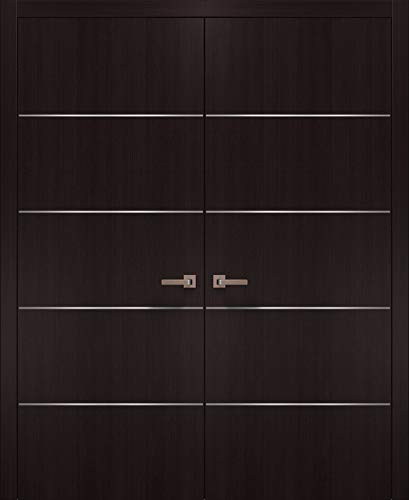 Brown Modern French Doors 60 x 80 with Strips | Planum 0020 Wenge | Frame Trims Lever Satin Nickel Hardware | Closet Solid Core Pre-Hung Door