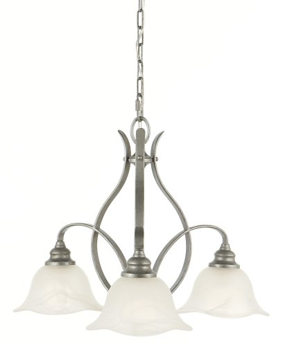 Murray Feiss F2049/3AP Morningside Three-Light Chandelier in Antique Pewter and White Alabaster Glass
