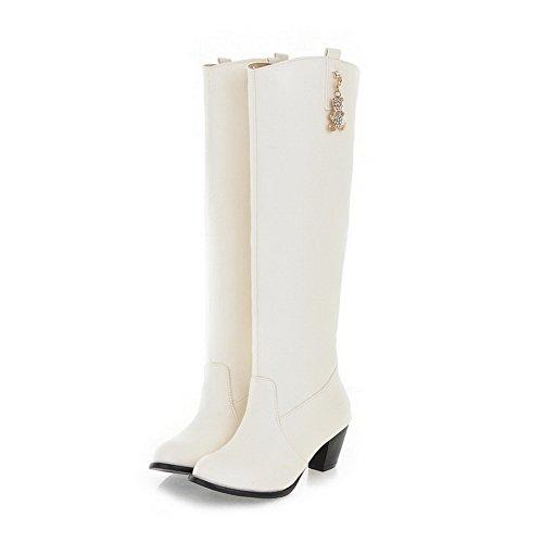 VogueZone009 Damen Ziehen auf PU Leder Rund Zehe Mittler Absatz Stiefel Weiß