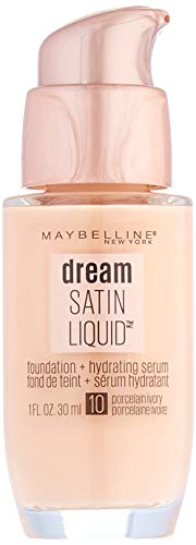 Maybelline New York Dream Satin Liquid Foundation + hydrating Serum, Porcelain Ivory, 1 oz (Package May Vary)