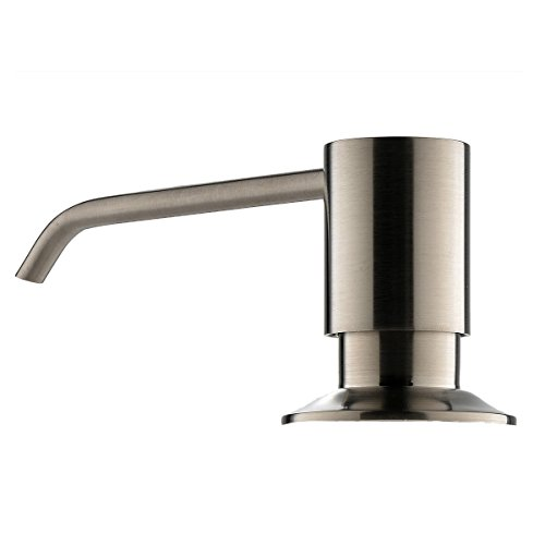 Shaco Brushed Nickel Kitchen Soap Deck Mounted Liquid Countertop Kitchen Dish Soap Dispenser,13 OZ Capacity Solid Brass - Deck Mounted Kitchen
