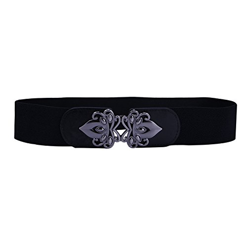 HDE Womens Wide Elastic Cinch Belt Plus Size Vintage Buckle Stretch Waistband (Black, L-XXL)
