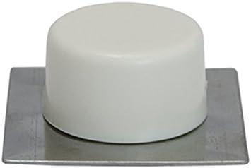 Sysfix Tope de Puerta Adhesivo Blanco con Base Inoxidable (Caja de 10 Unidades), 4,5x4,5x1,8 cm