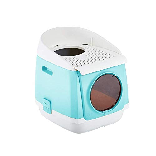 Self Cleaning Cat Litter Box,Anti-Splashing and Deodorizing Fully Enclosed Double Door Foldable Automatic Litter Box Double-Door Cat House,Front Entry and Top Exit,Reduces Litter Tracking & Odor