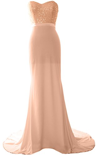 Prom Rose Gold Long Bridesmaid Sequin Jersey Dress MACloth Mermaid Strapless Gorgeous Gown wCqPZ87