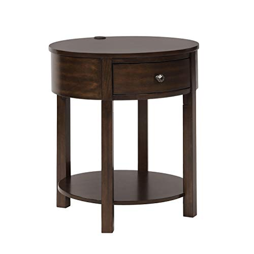 ArgoHome Chairside End Table Storage Drawer and Lower Shelf-2 USB Ports-Round-Cofffee
