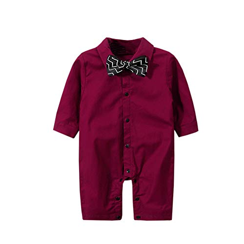(Fairy Baby Newborn Baby Boys Onesie Gentleman Outfit Formal Plaid Tuxedo Suit Size 0-3M (Wine red))