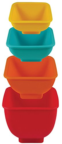 Mrs. Anderson's Baking 43758 Flex and Pour Measuring Cups Set of 4 Multicolor Silicone (Silicone Measuring Bowls)