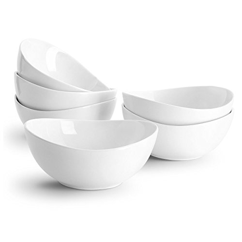 Sweese 1101 Porcelain Bowls - 18 Ounce for Cereal, Salad, Dessert - Set of 6, - Oval White Bowl