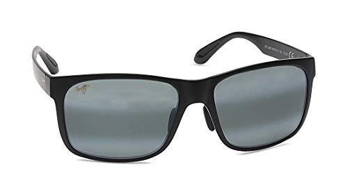 Maui Jim Red Sands 432-2M | Polarized Matte Black Rectangular Frame Sunglasses, Patented PolarizedPlus2 Lens ()