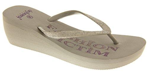 Para mujer víctima de la moda de verano las sandalias de cuña zapatos de las señoras tamaño 36 37 38 39 40 41 Gris