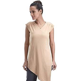 Proyog Brown Cotton V Neck Wrap Top For Women