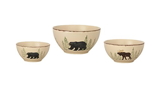 Moose Stoneware - Park Designs Rustic Retreat Mixing Bowls (Set of 3), Multicolor