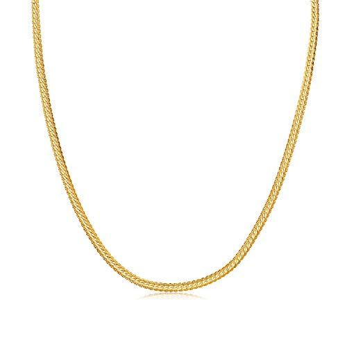 WINNICACA Fake Gold Chain for Men 24K Gold Plated Italy Hip Hop Jewelry Cuban Snake Chain Link Necklace Unisex 22inches,3mm Wide