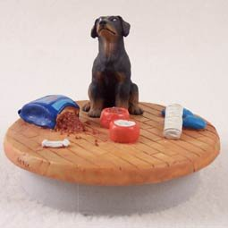 Conversation Concepts Miniature Doberman Pinscher Black w/Uncropped Ears Candle Topper Tiny One ''A Day at Home''
