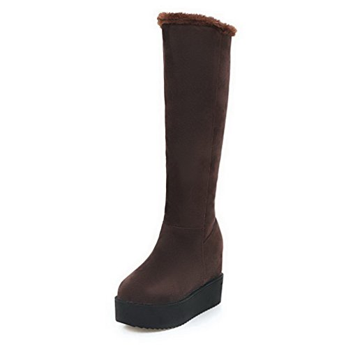 Frosted Brown High Solid Toe Round AllhqFashion Boots Heels Womens High Top Closed PqYW7w