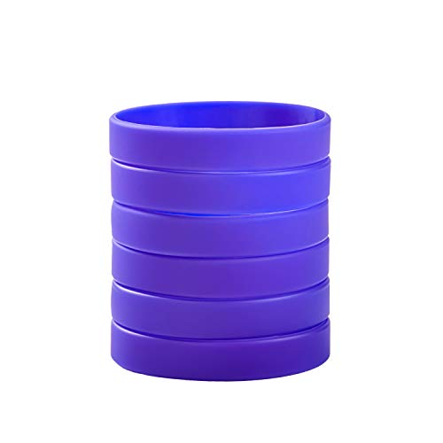 BRANDWIN Wholesale 12pcs/6pcs/pack Mixed/Single Colors Blank Silicone Wristbands Rubber Bracelets (Violet)