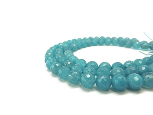 Faceted Holiday Bracelet Bead (Ocean Blue Jade Faceted Round Gemstone Beads 12mm - Jewelry Making Supplies)