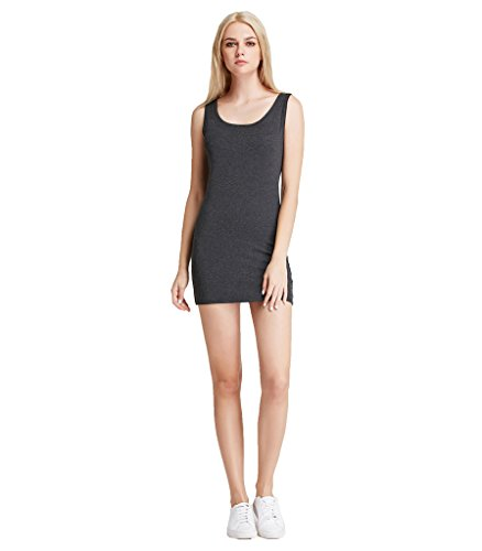(Liang Rou Women's Mini-Ribbed Stretch Scoop Neck Extra Long Tank Top Dark Gray S)
