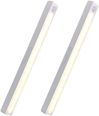 Motion Sensor LED Light Warm White,Rechargeable 16 LED Closet Lights Under Cabinet Lighting Safe Lights Wireless Stick-on Magnetic Night Light on Anywhere for Wardrobe and Kitchen 2 Pack