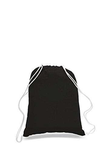 SET OF 12 - 100% Percent Cotton Gym Drawstring Backpacks Bags - Wholesale Promotional Bulk Durable Cheap Well Made Drawstring Bags Cinch Sacks (1 Dozen) (Large (17