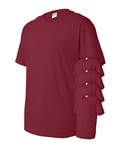 Gildan Men's Classic Heavy Cotton T-Shirt, Garnet, XL (Pack of 5)