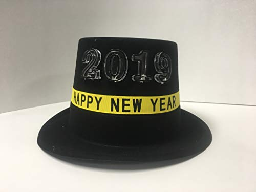 Gloworks Festive New Years Light Up Flashing LED Lights Black Top hat Celebration Party Hats, 4 -