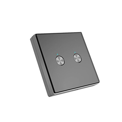 Nacome Wireless Wall Switch Lighting Control,2 x receivers,Remote Operation,Capacitive Glass Wireless Wall Switch (Black) by Nacome (Image #1)