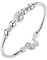Dam silverpärlor armband överföring lyckliga pärlor armband armring armband romantiska smycken stiliga gynnar dagliga nödvändigheter