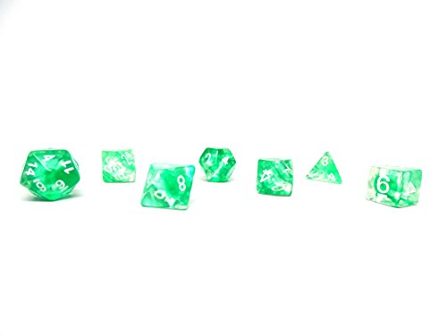 Roller Dice Game (Polyhedral Dice Set - Green Glacier - 7 Piece PRISTINE Edition - FREE Carrying Bag - Hand Checked Quality)