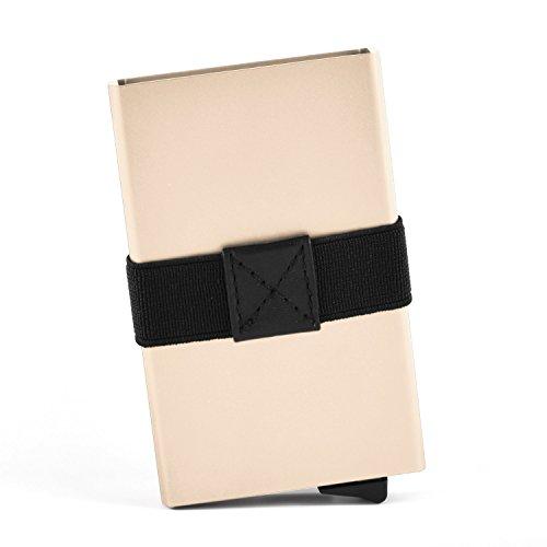 Stilvolles Kreditkartenetui aus leichtem Aluminium für bis zu 7 EC- und Kreditkarten. Minimalisten Portemonnaie (9,5 cm x 6,5 cm) inkl. RFID & NFC Schutz (Rot) Gold