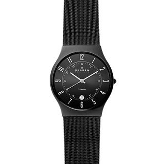 Skagen Men Titanium Black Mesh Watch (Skagen Men's 233XLTMB Grenen Black Titanium Mesh)