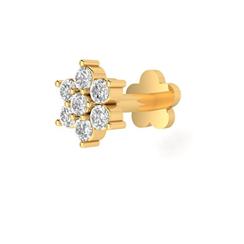 Animas Jewels DGLA Certified 14k Yellow Gold Flower Stud Nose Pin for Women 0.10 Cttw Natural Diamond (G-H Color. SI Clarity) Round Cut 3-Prong Setting. Available in 6 mm & 8 mm Length (8)