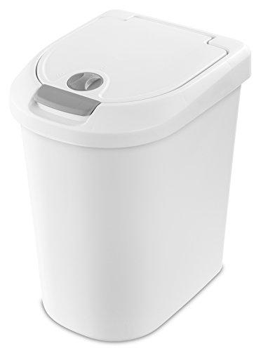 STERILITE 10998004 7.3 Gallon/28 Liter Locking TouchTop Wastebasket, White Lid & Base w/Titanium Latch & Lock, 4-Pack - Push Top Lid