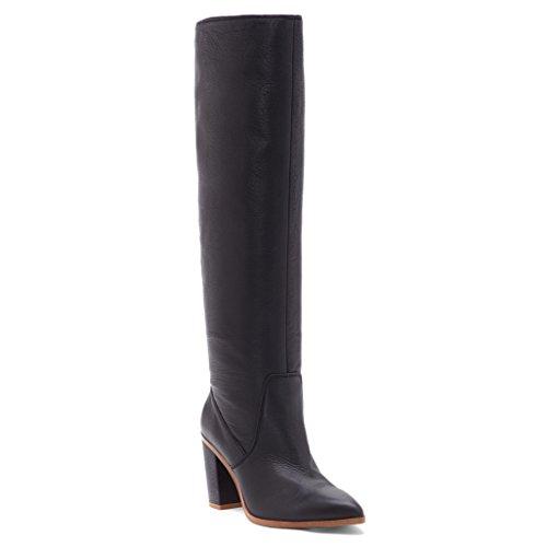 1.STATE Womens Paiton Leather Pointed Toe Knee High, Black Dakota, Size 6.0