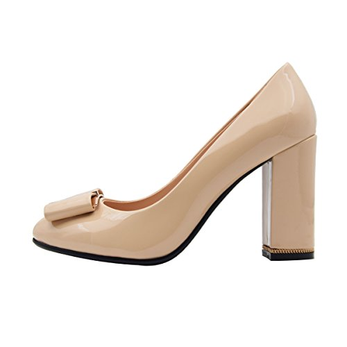 Pumps Women's Official Patent Verocara Shoes Chunky F nude Dress Ornament Decoration B Heel Occasion Leather Genuine gq8FBUqn