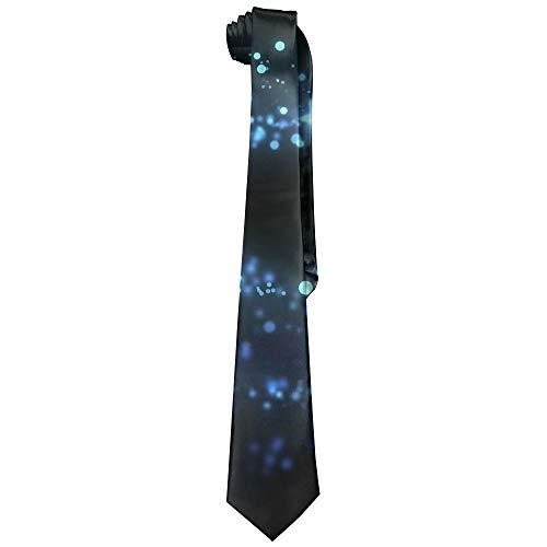 Star Light Waves Blue Polyester Neckwear Silk Neck Tie, Gentleman Classic Neckties,Graduation Meeting Business Casual Skinny Ties