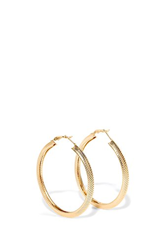 Large Hoop Earrings Omega Back Shiny Metal Ear Hoops 2.4 Inch Circle Earring Set (gold, ribbed pattern)