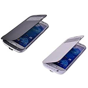 DUR 3200mAh View Window High Capacity Backup Battery PU Leather Flip Cover Case for Samsung S4 , White