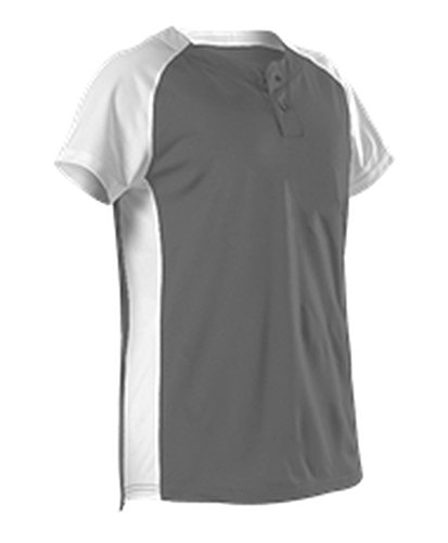 Alleson Womens Two Button Fastpitch Jersey Charcoal, White S 522PDW 522PDW-CHWH-S ()