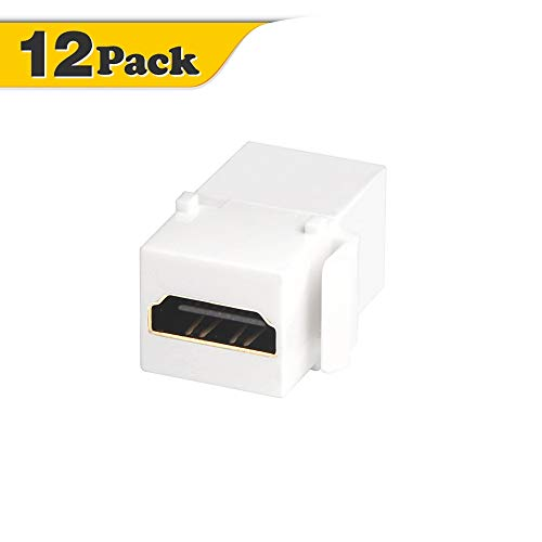 HDMI Keystone Coupler, VCE 12 Pack HDMI Keystone Jack Insert,Gold Plated HDMI Female to Female Coupler Adapter-White (Female Keystone Jack)